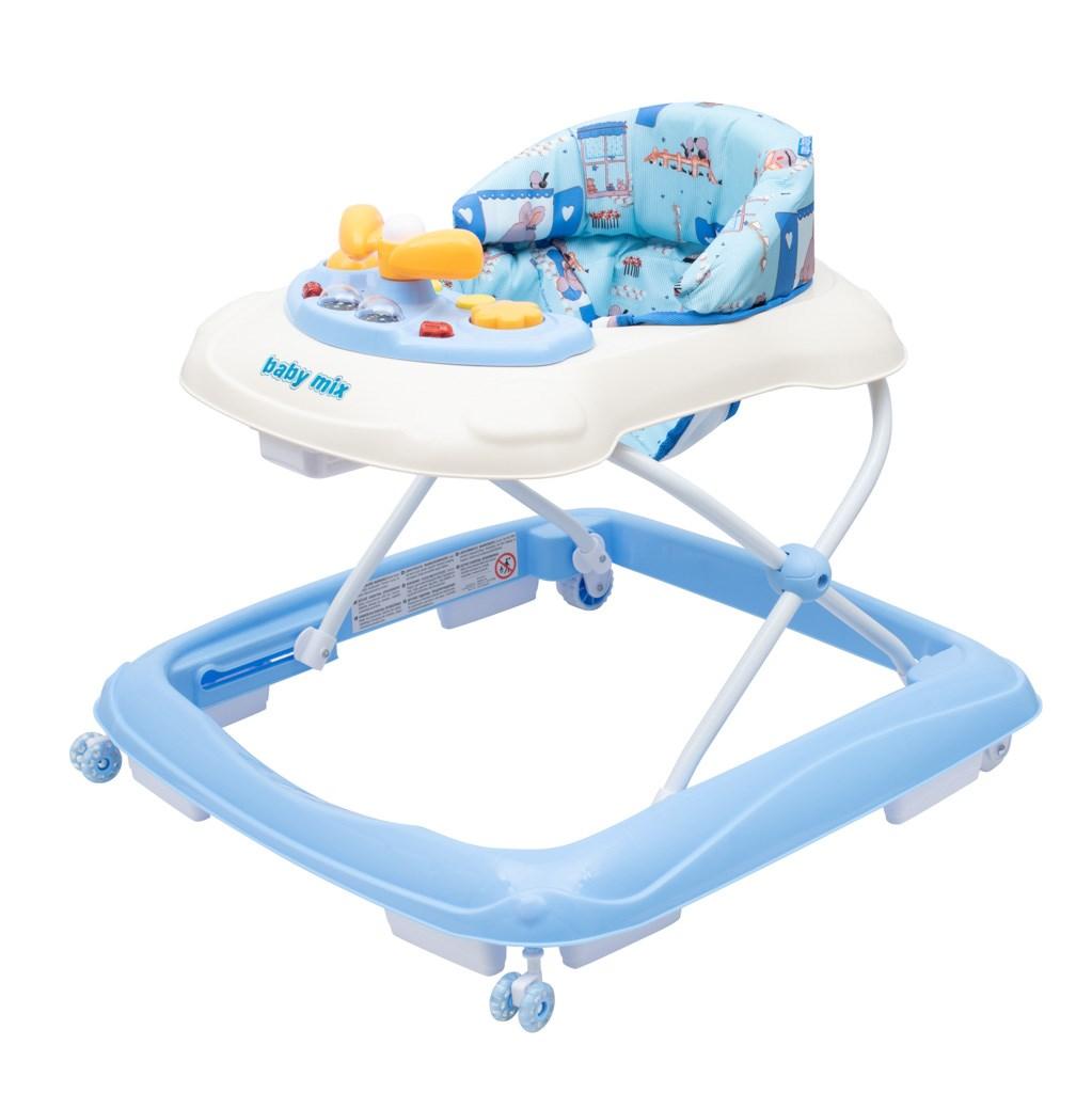 Dětské chodítko Baby Mix s volantem a silikonovými kolečky modré