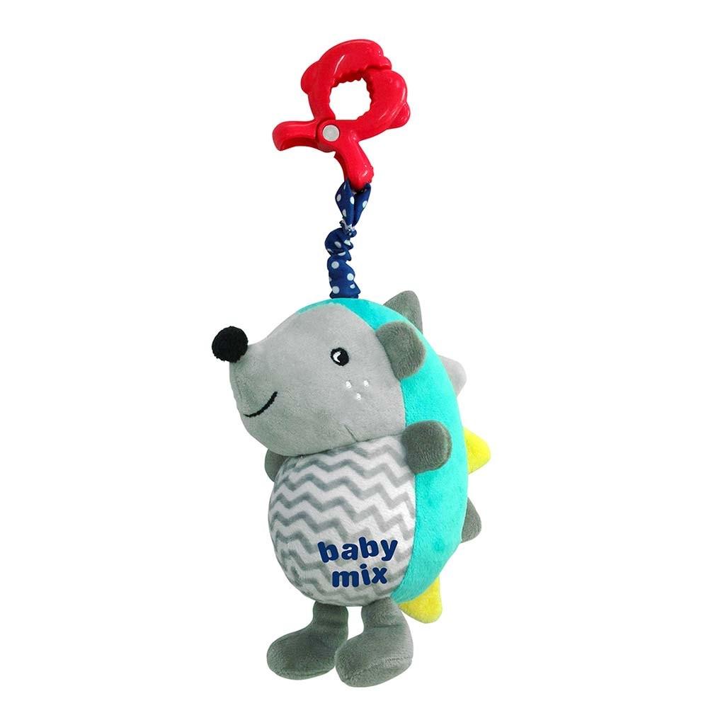 Dětská plyšová hračka s hracím strojkem Baby Mix Ježek modro-šedý