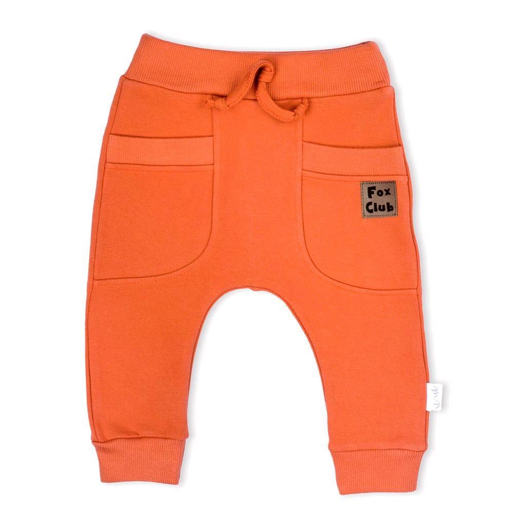Kojenecké bavlněné tepláčky Nicol Fox Club oranžové vel. 56 (0-3m)
