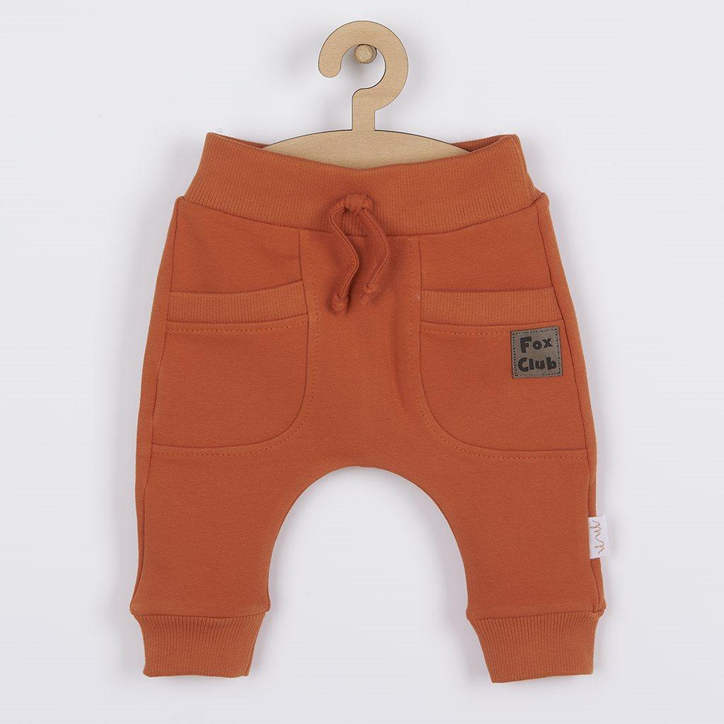 Kojenecké bavlněné tepláčky Nicol Fox Club oranžové, vel. 62 (3-6m)