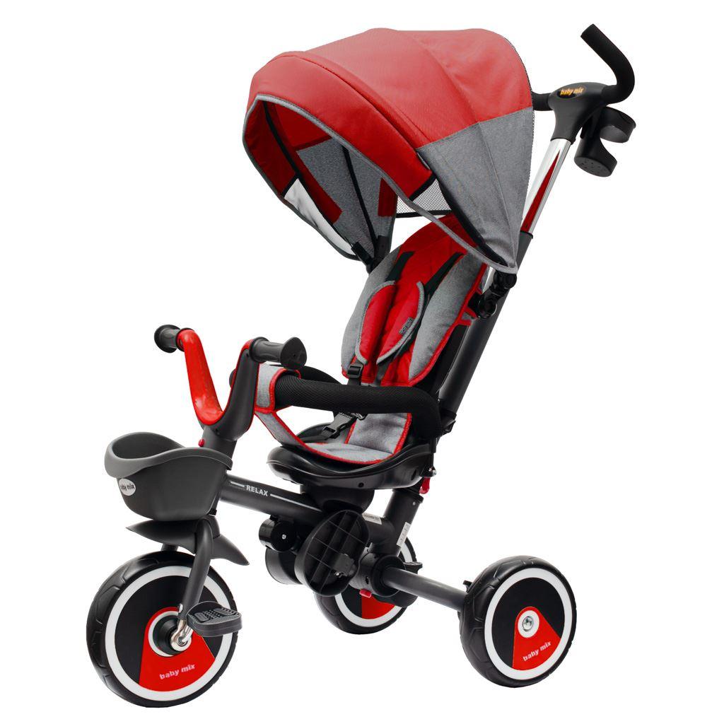 Dětská tříkolka Baby Mix 5v1 RELAX 360° červená
