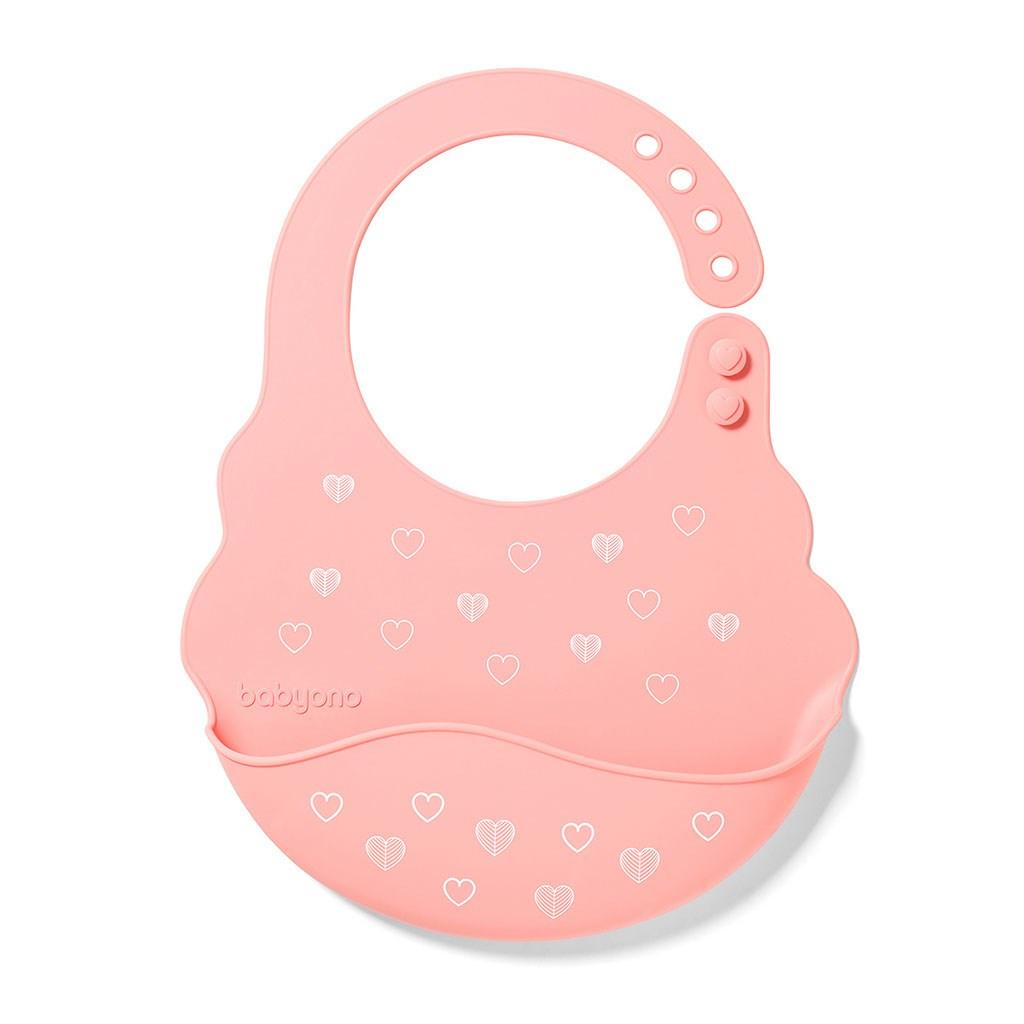 Nastavitelný silikonový bryndák s kapsičkou Baby Ono růžový