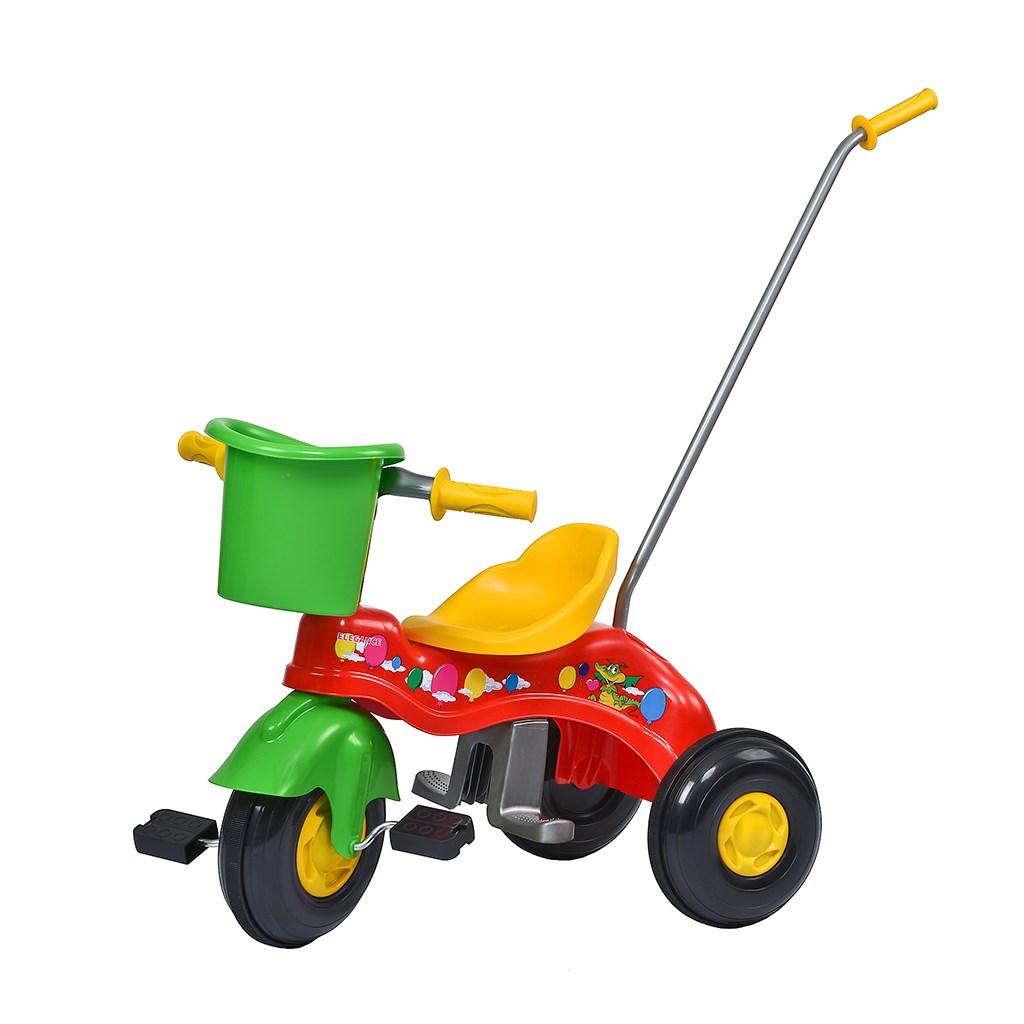 Dětská šlapací tříkolka s vodící tyčí BAYO JUNIOR červená