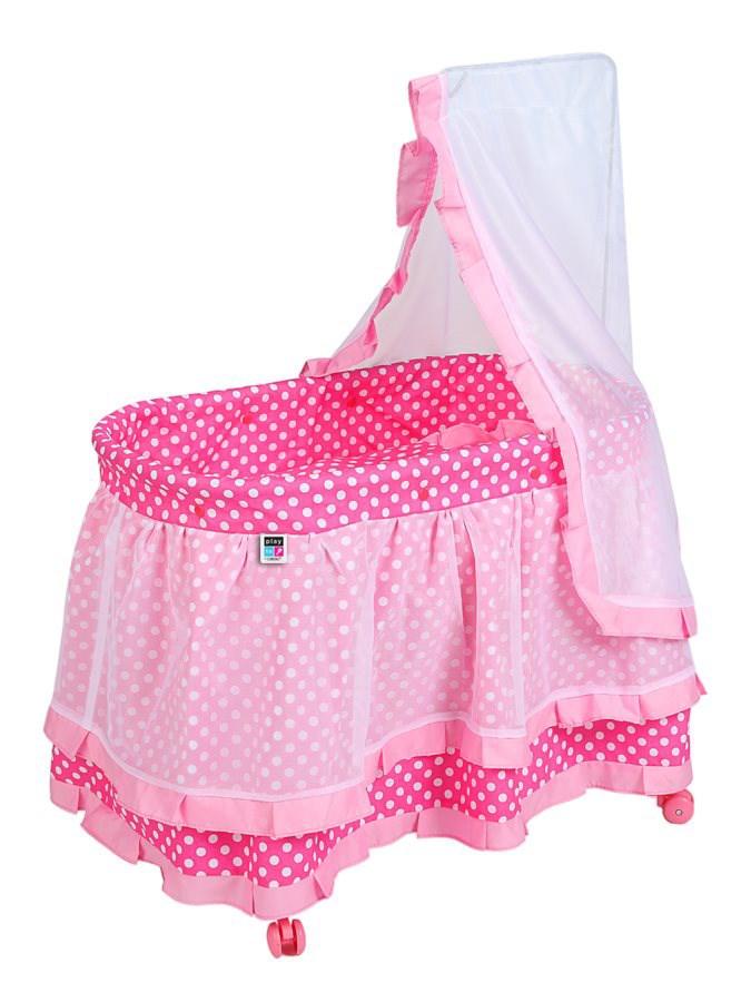 Košík pro panenky PlayTo Nikolka světle růžový (poškozený obal)