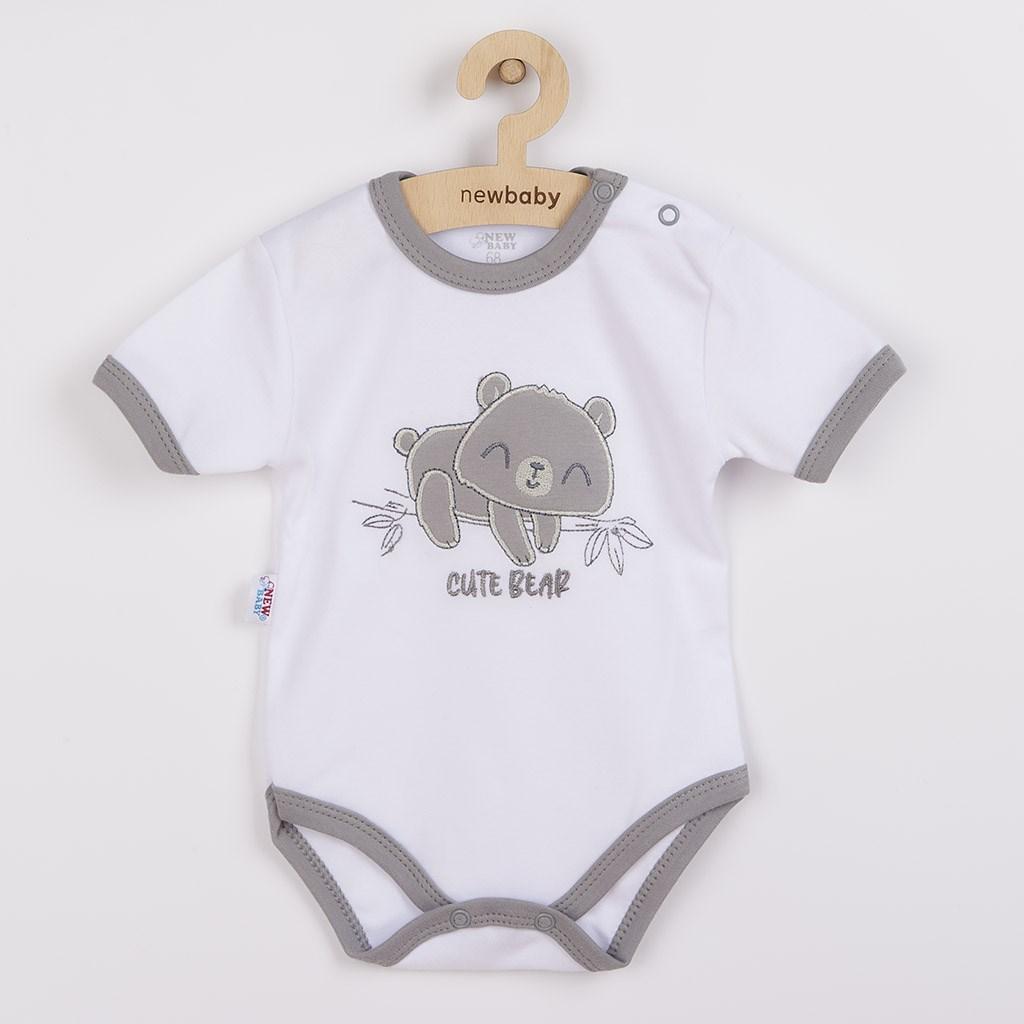 Kojenecké bavlněné body s krátkým rukávem New Baby Cute Bear, Velikost: 86 (12-18m)
