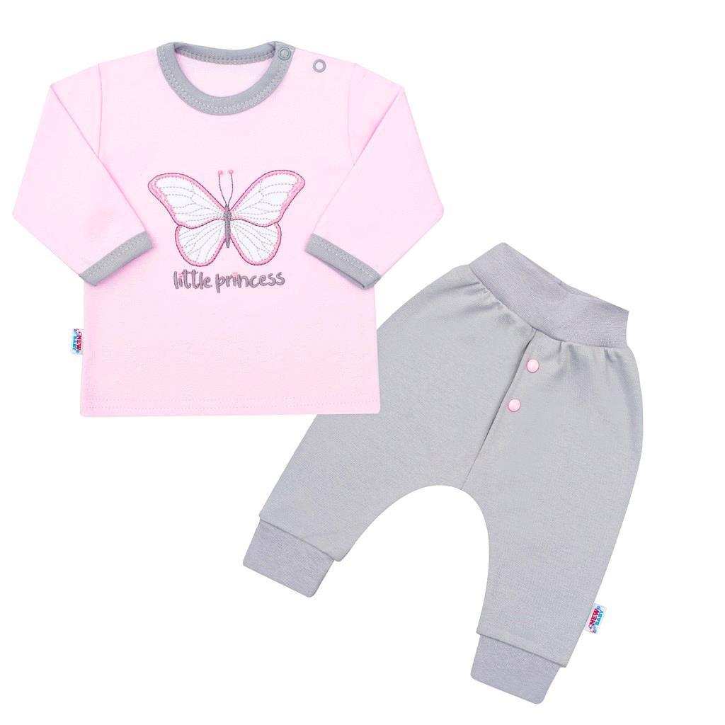 2-dílná kojenecká bavlněná soupravička New Baby Little Princess růžovo-šedá vel. 74 (6-9m)