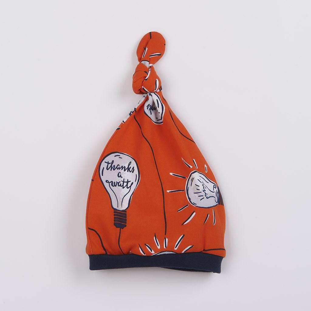 Kojenecká bavlněná čepička New Baby Happy Bulbs, 56 (0-3m)