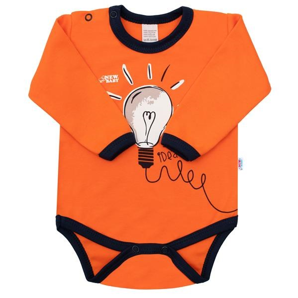 Kojenecké bavlněné body s dlouhým rukávem New Baby Happy Bulbs, 80 (9-12m)