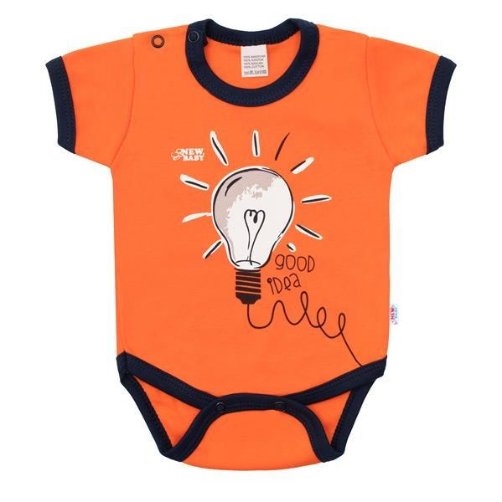 Kojenecké bavlněné body s krátkým rukávem New Baby Happy Bulbs, 56 (0-3m)