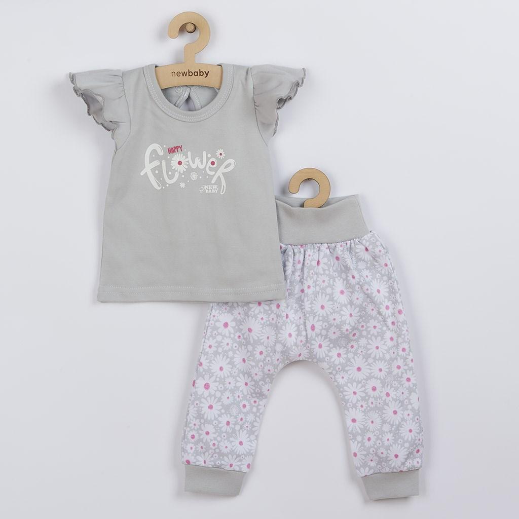 2-dílná kojenecká bavlněná souprava New Baby Happy Flower šedá, 68 (4-6m)