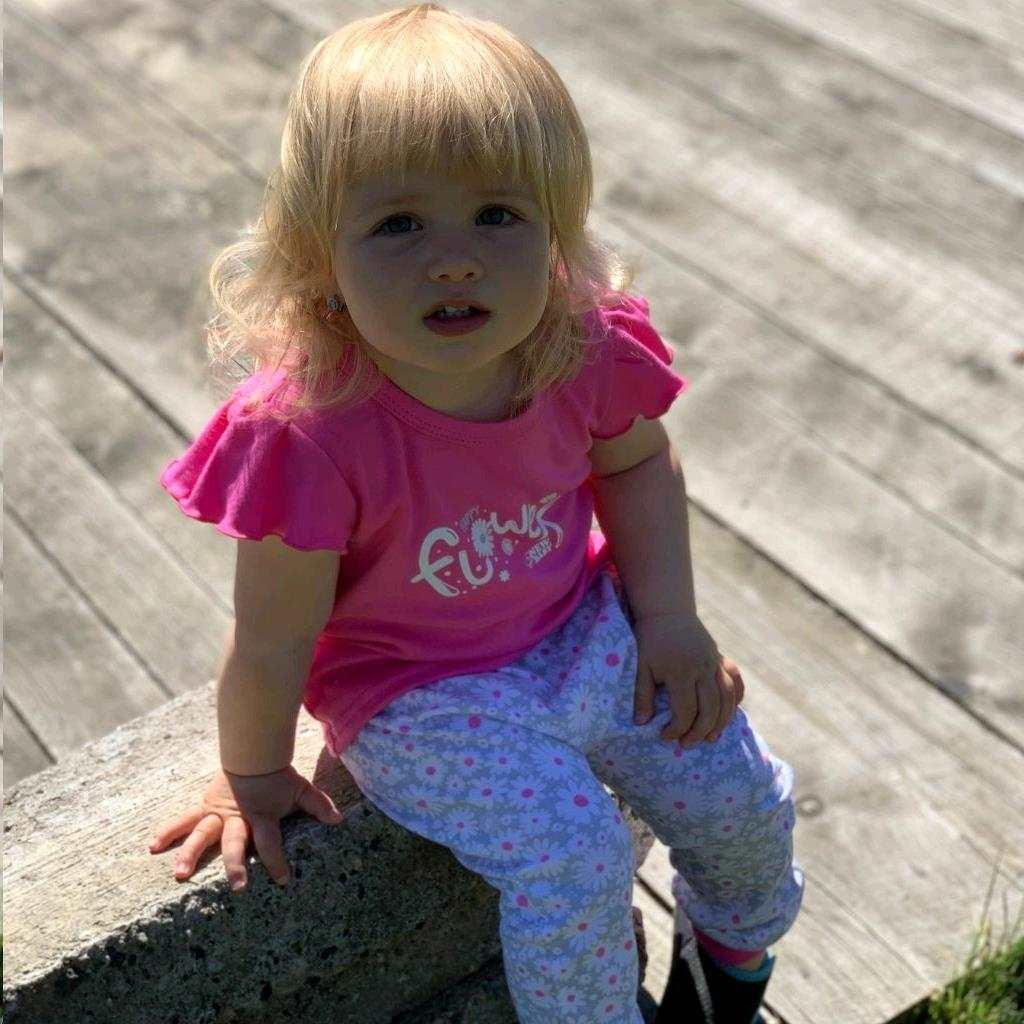 2-dílná kojenecká bavlněná souprava New Baby Happy Flower tmavě růžová vel. 68 (4-6m)