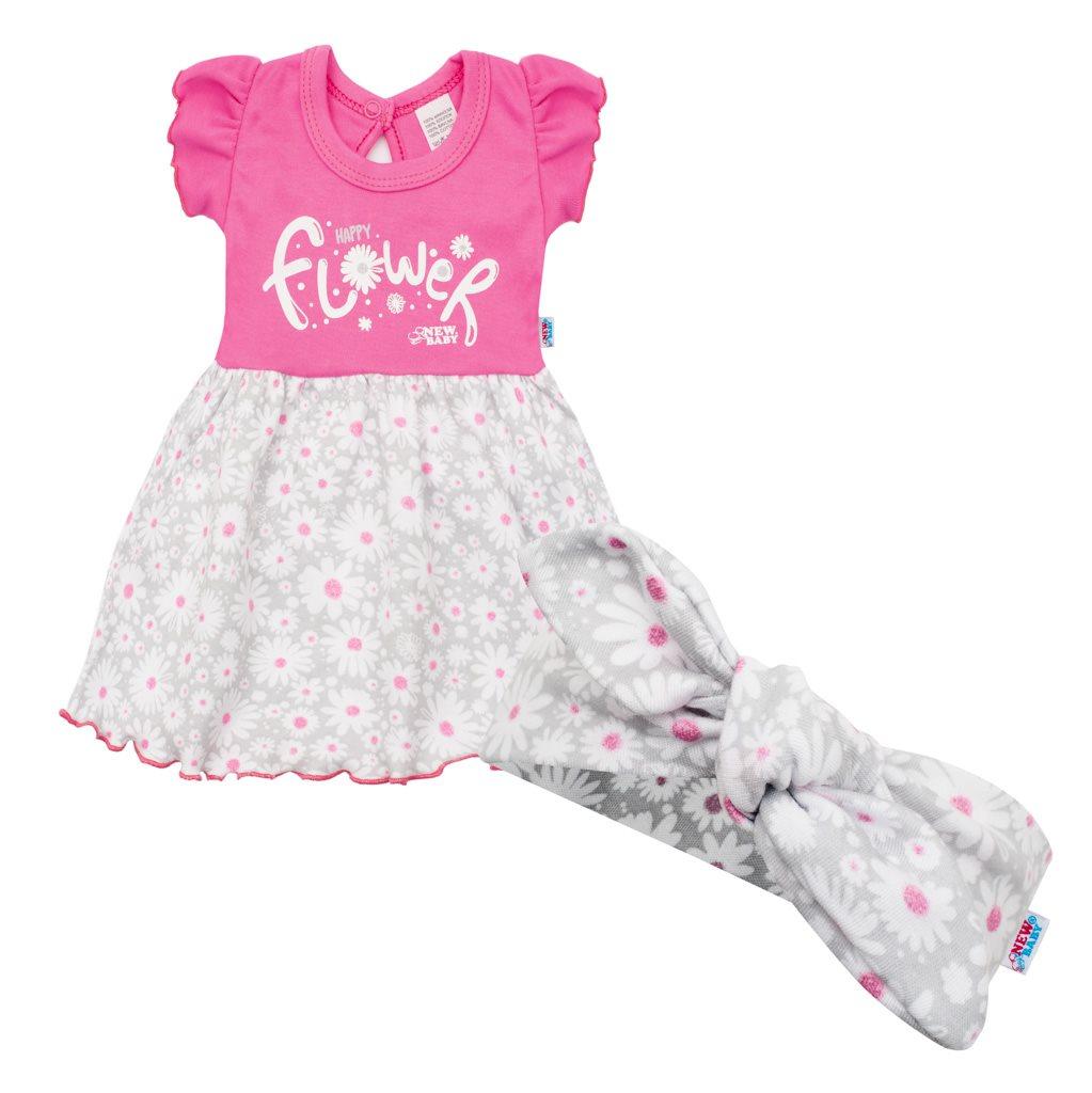 Kojenecké letní bavlněné šatičky s čelenkou New Baby Happy Flower tmavě růžové