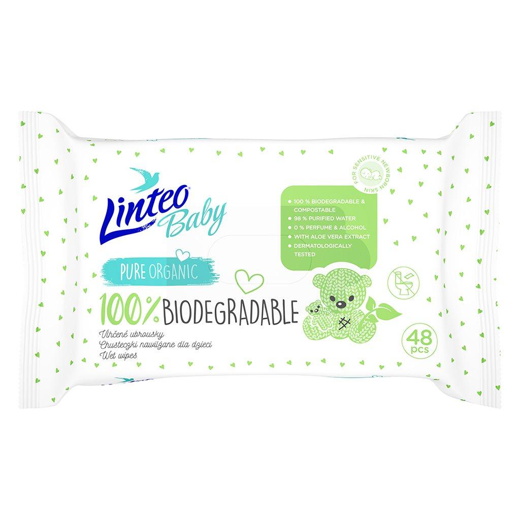 Dětské vlhčené ubrousky Linteo Baby 100% BIODEGRADABLE 48ks