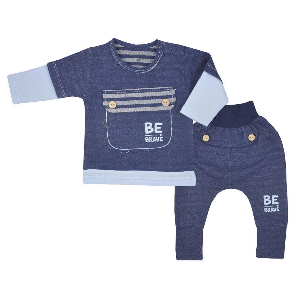 Kojenecké bavlněné tepláčky a tričko Koala BE BRAVE modré vel. 68 (4-6m)