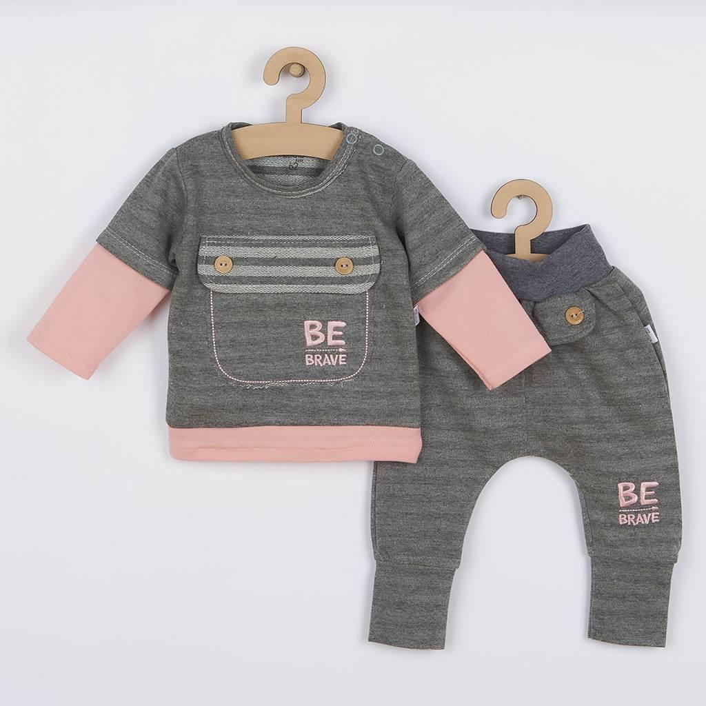 Kojenecké bavlněné tepláčky a tričko Koala BE BRAVE šedo-růžové vel. 68 (4-6m)