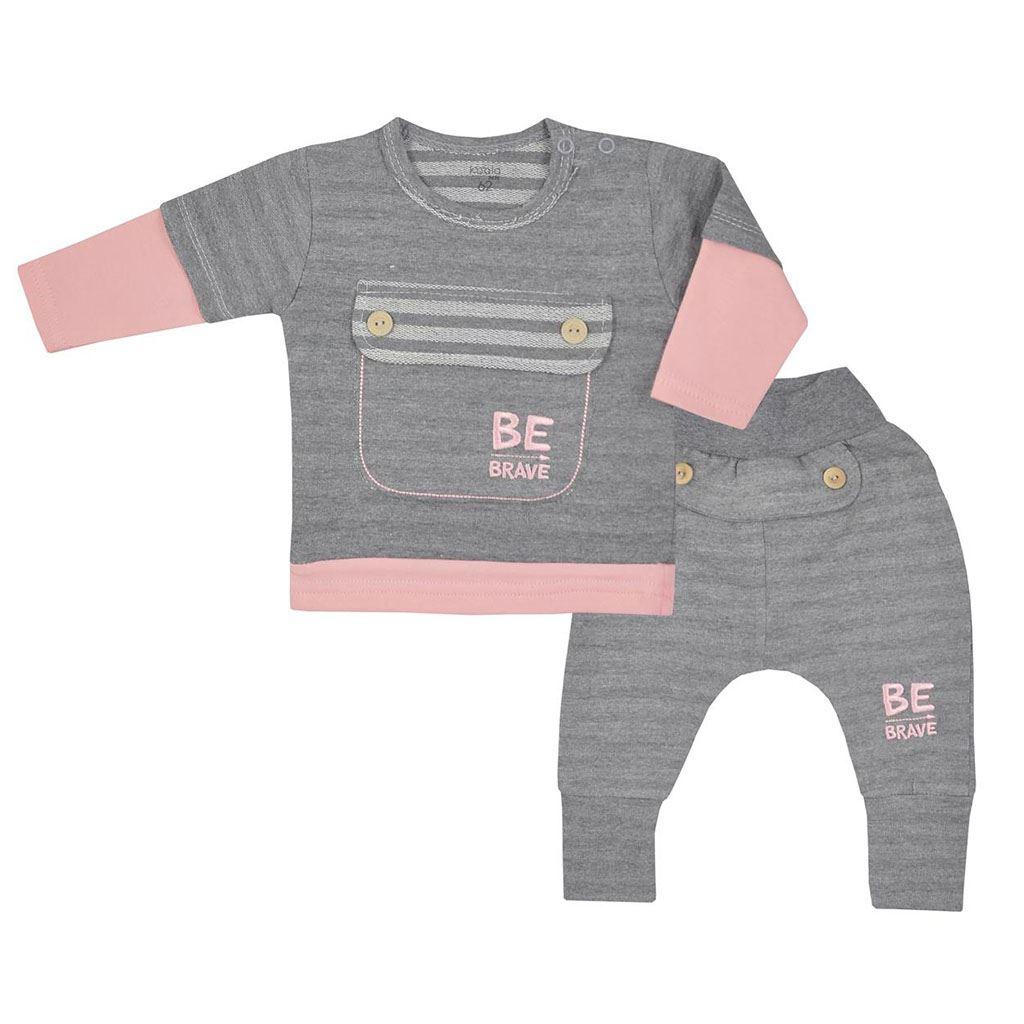 Kojenecké bavlněné tepláčky a tričko Koala BE BRAVE šedo-růžové, 80 (9-12m)