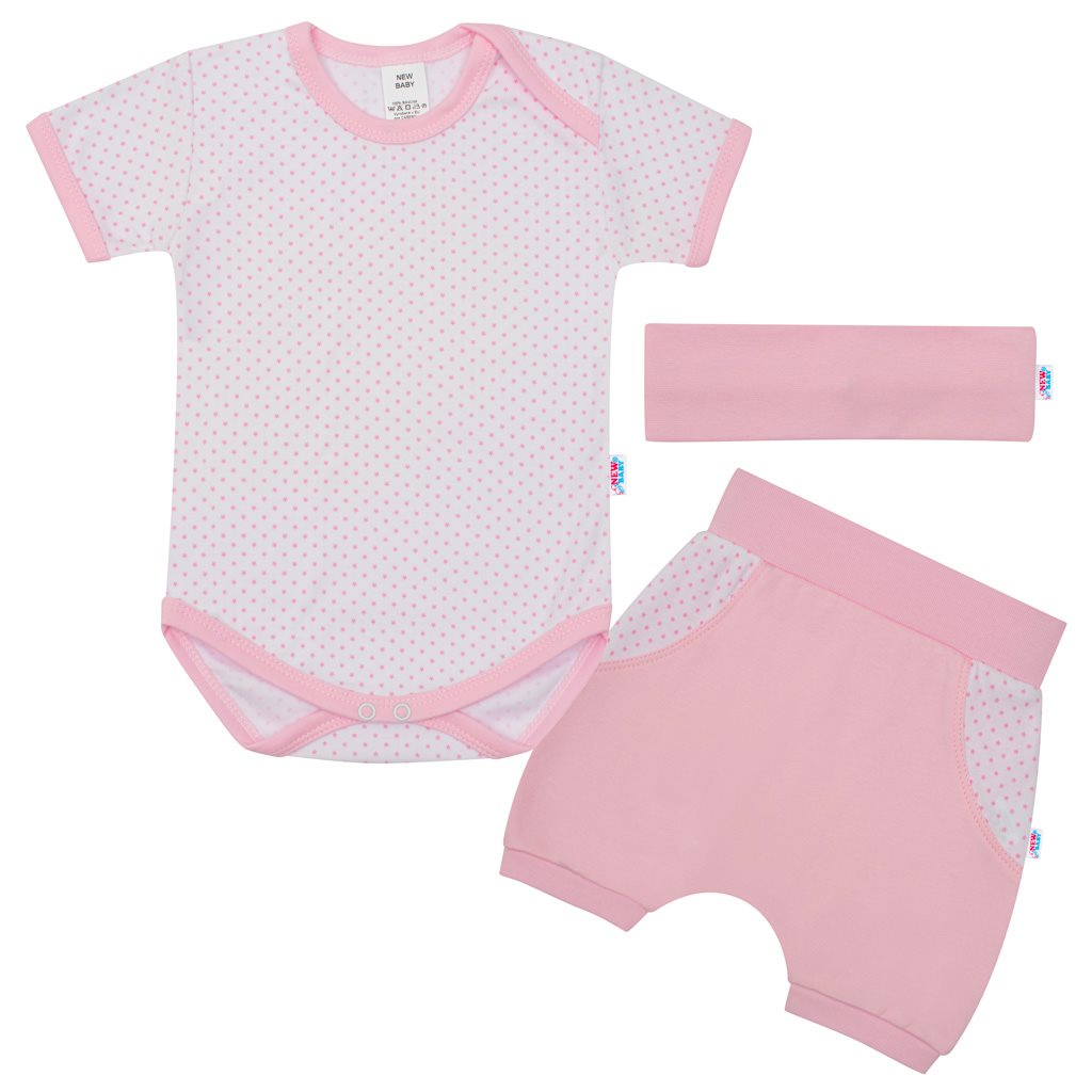 3-dílná letní bavlněná souprava New Baby Perfect Summer světle růžová vel. 62 (3-6m)