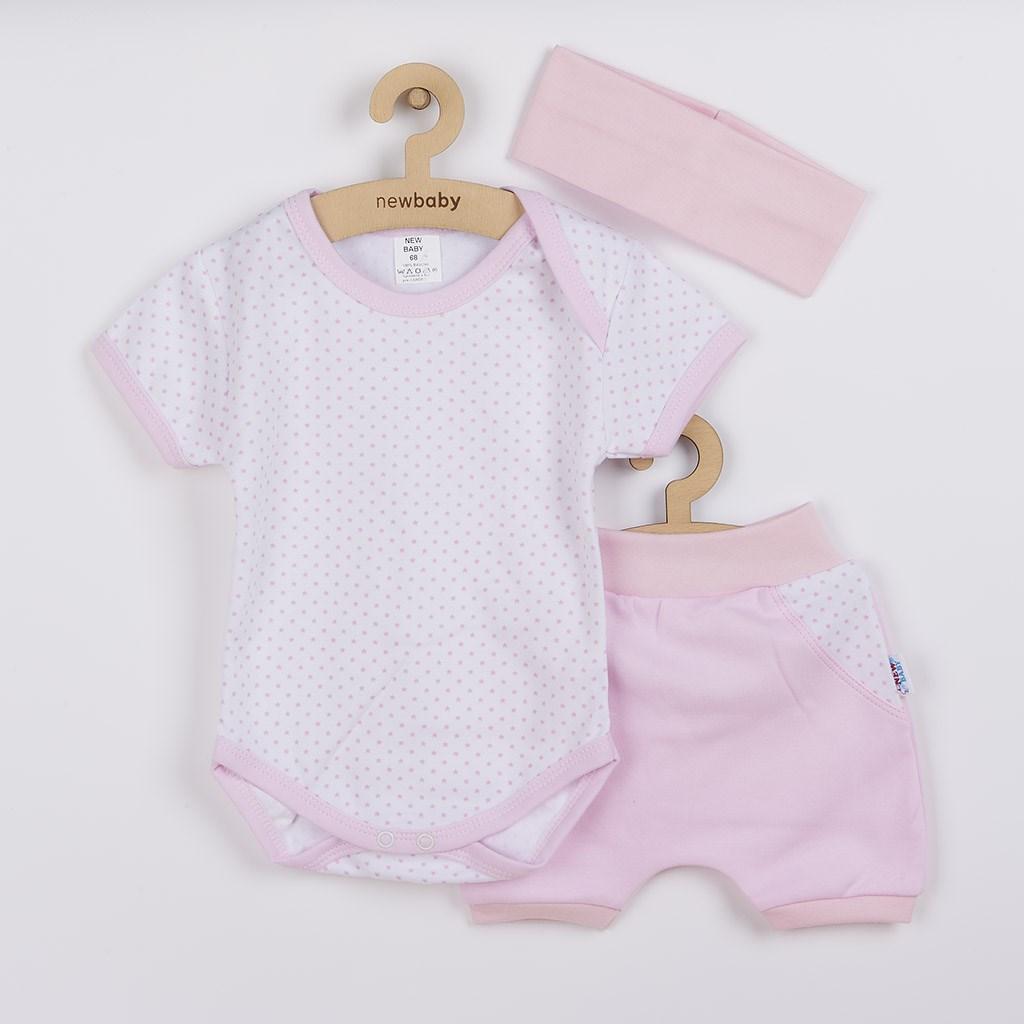 3-dílná letní bavlněná souprava New Baby Perfect Summer světle růžová vel. 68 (4-6m)