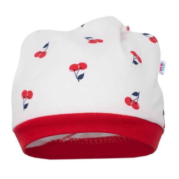Kojenecká bavlněná čepička-šátek New Baby Cherry, 56 (0-3m)