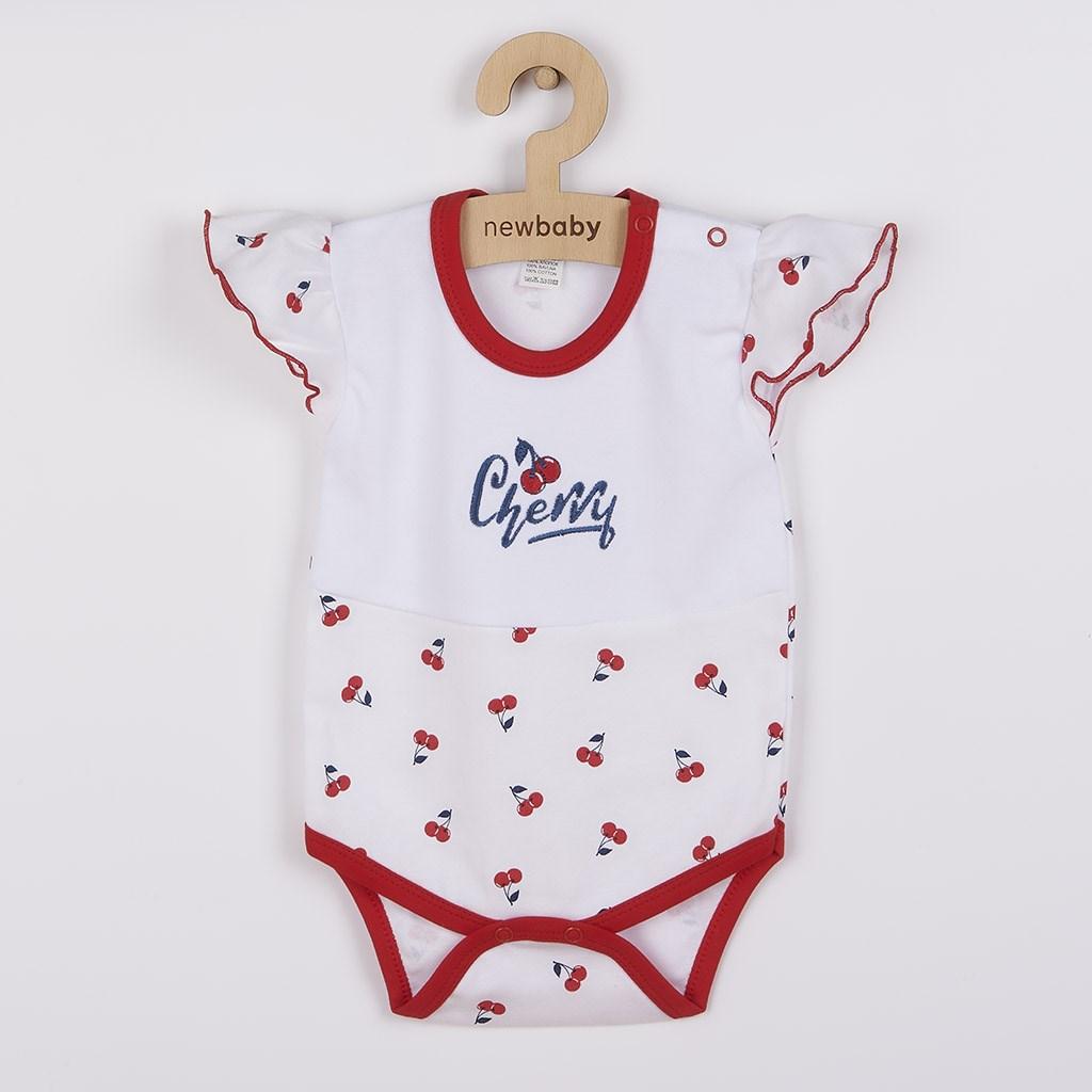 Kojenecké bavlněné body s krátkým rukávem New Baby Cherry