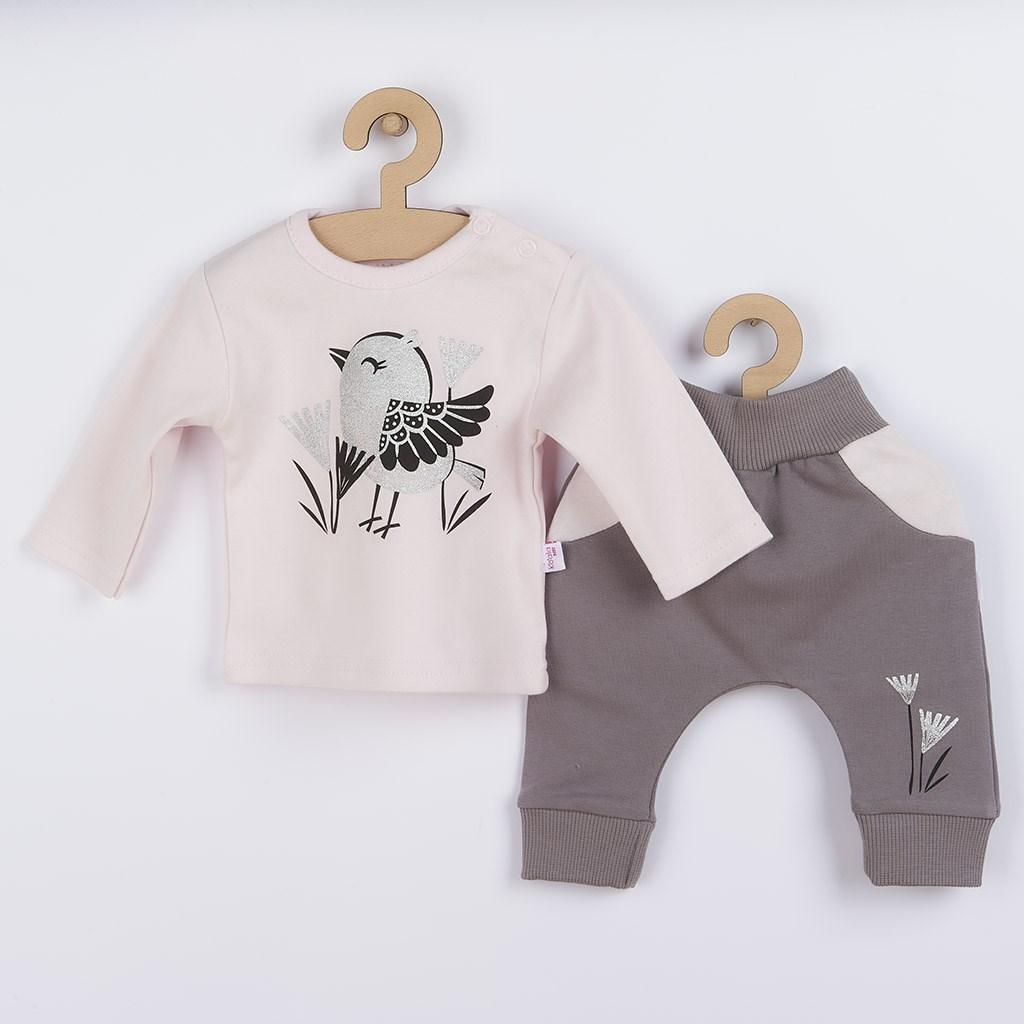 Kojenecké bavlněné tepláčky a tričko Koala Birdy růžové vel. 62 (3-6m)