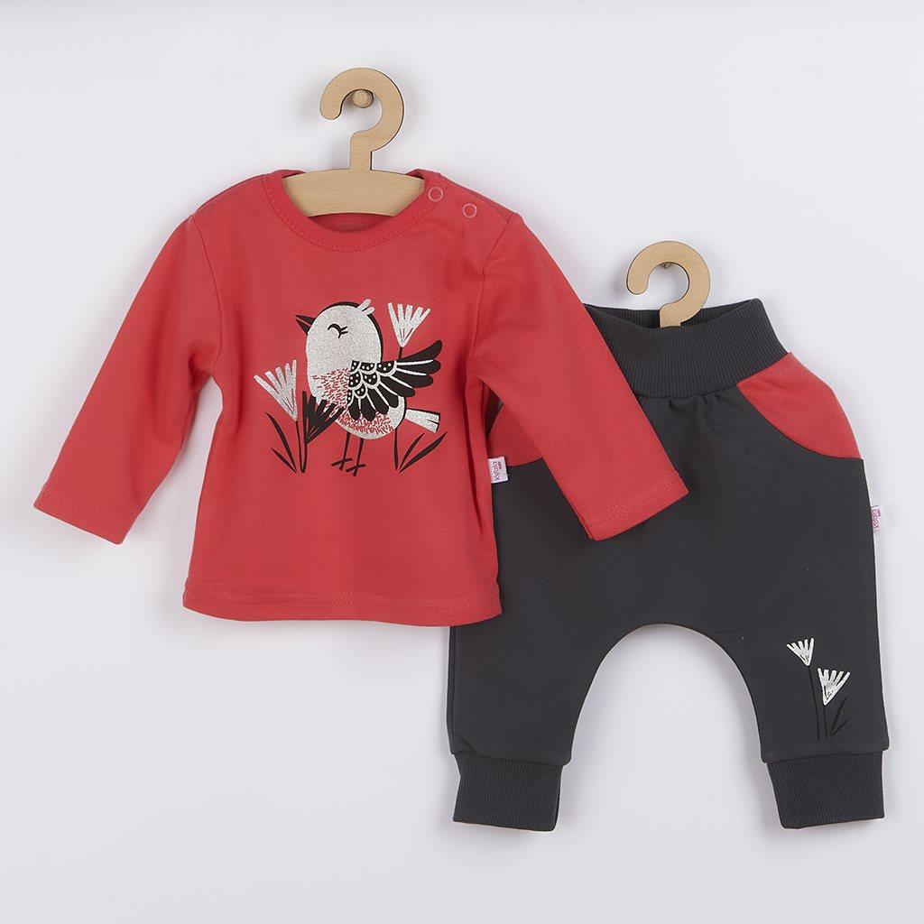 Kojenecké bavlněné tepláčky a tričko Koala Birdy tmavě růžové, vel. 62 (3-6m)