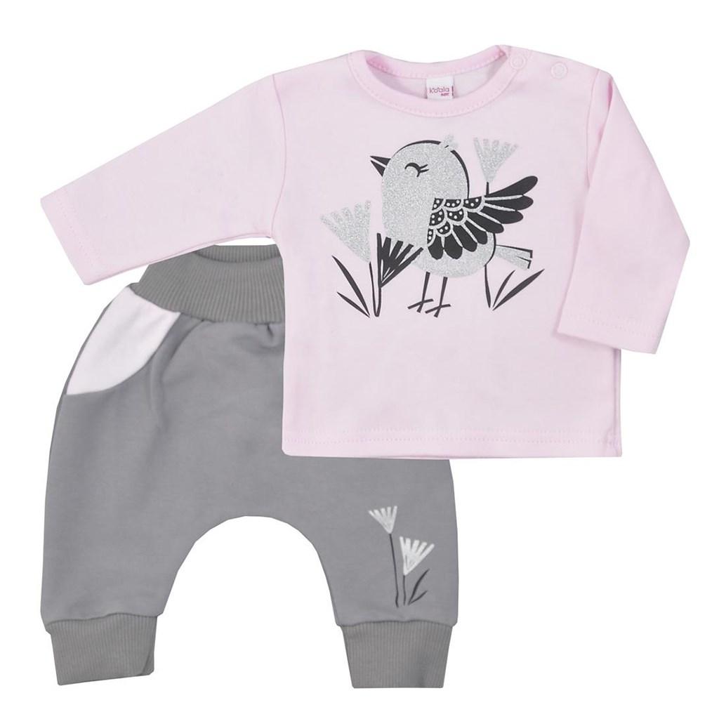 Kojenecké bavlněné tepláčky a tričko Koala Birdy růžové, Velikost: 68 (4-6m)