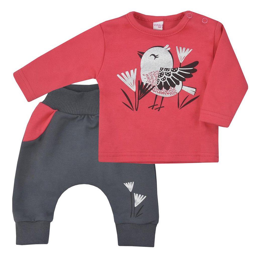 Kojenecké bavlněné tepláčky a tričko Koala Birdy tmavě růžové, Velikost: 68 (4-6m)