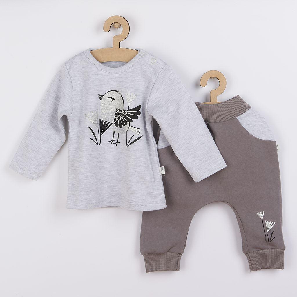 Kojenecké bavlněné tepláčky a tričko Koala Birdy šedé, Velikost: 68 (4-6m)
