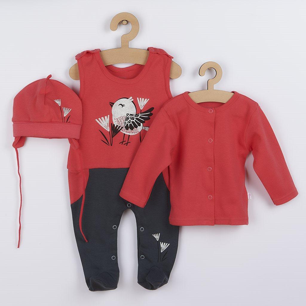 3-dílná bavlněná dětská souprava Koala Birdy tmavé růžová