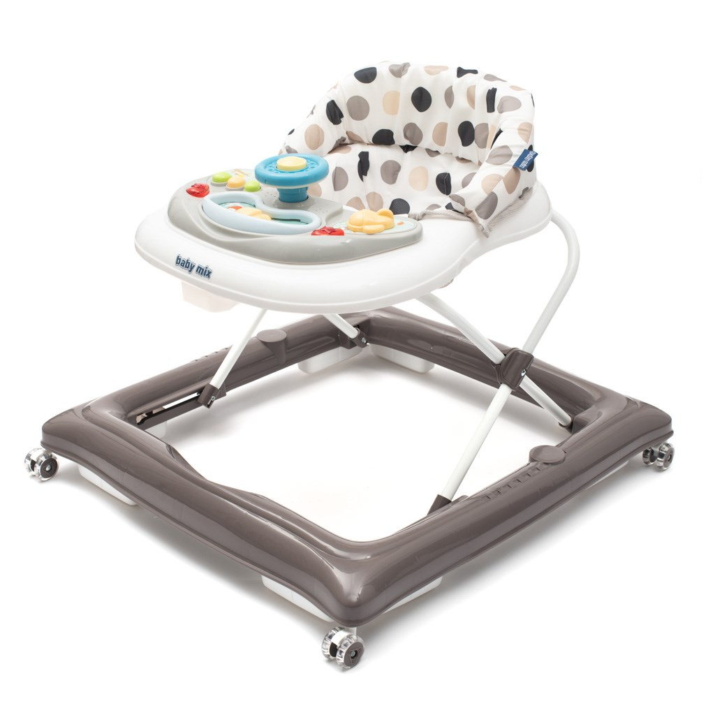 Dětské chodítko Baby Mix s volantem a silikonovými kolečky šedo-bílé