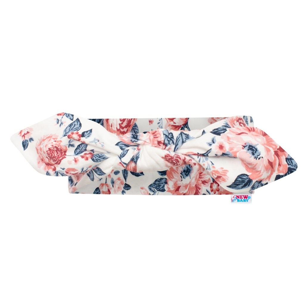 Kojenecká bavlněná čelenka New Baby Roses smetanovo-růžová 18,5 cm