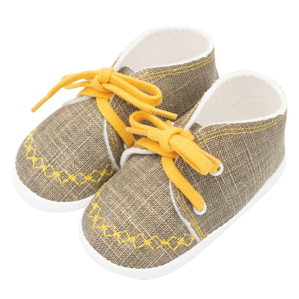 Kojenecké capáčky tenisky New Baby jeans mustard 0-3 m, 0-3 m