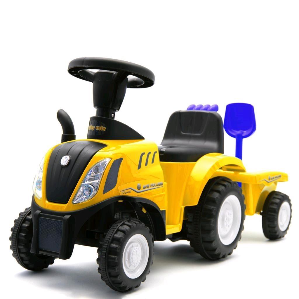 Dětské odrážedlo traktor s vlečkou a nářadím Baby Mix New Holland žlutý
