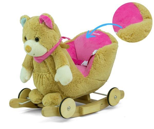 Houpací hračka s melodií a kolečky Milly Mally Polly Medvídek šedo-růžový