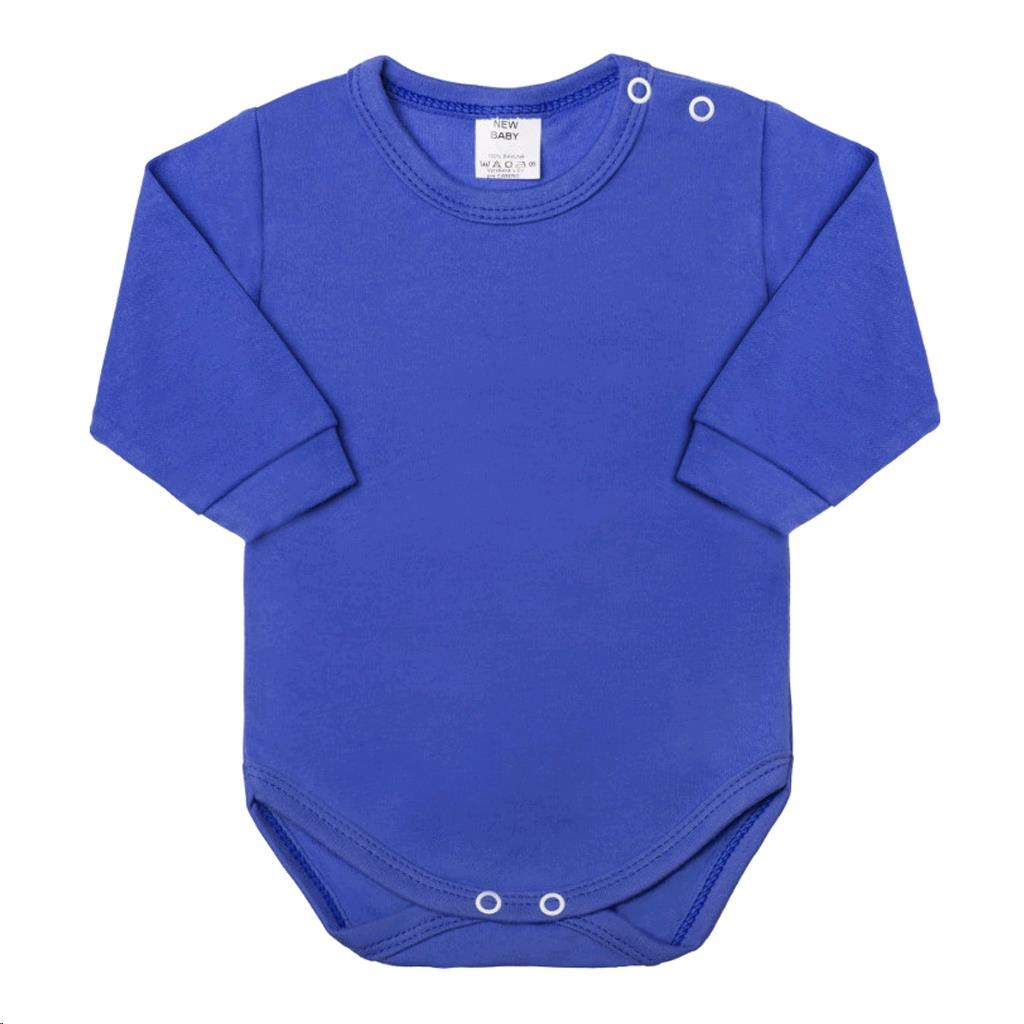 Kojenecké body s dlouhým rukávem New Baby modré, Velikost: 74 (6-9m)