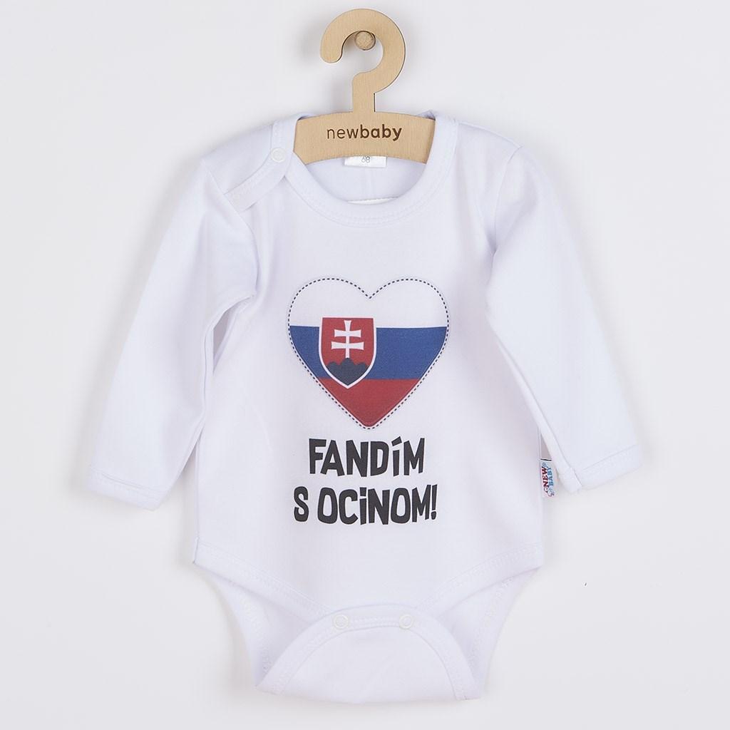 Body s potiskem New Baby Fandím s ocinom bílé, 56 (0-3m)