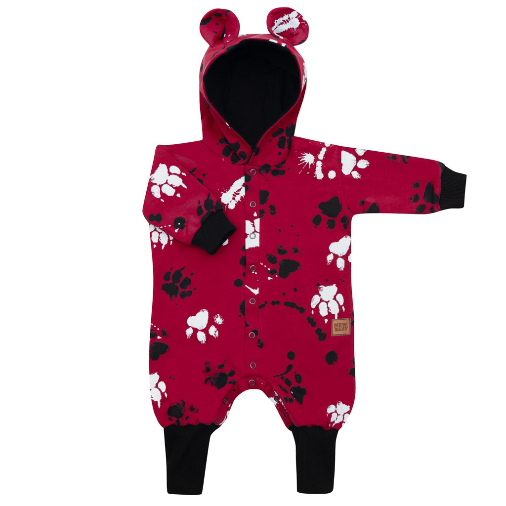 Kojenecký bavlněný overal s kapucí a oušky New Baby Paw tmavě růžový
