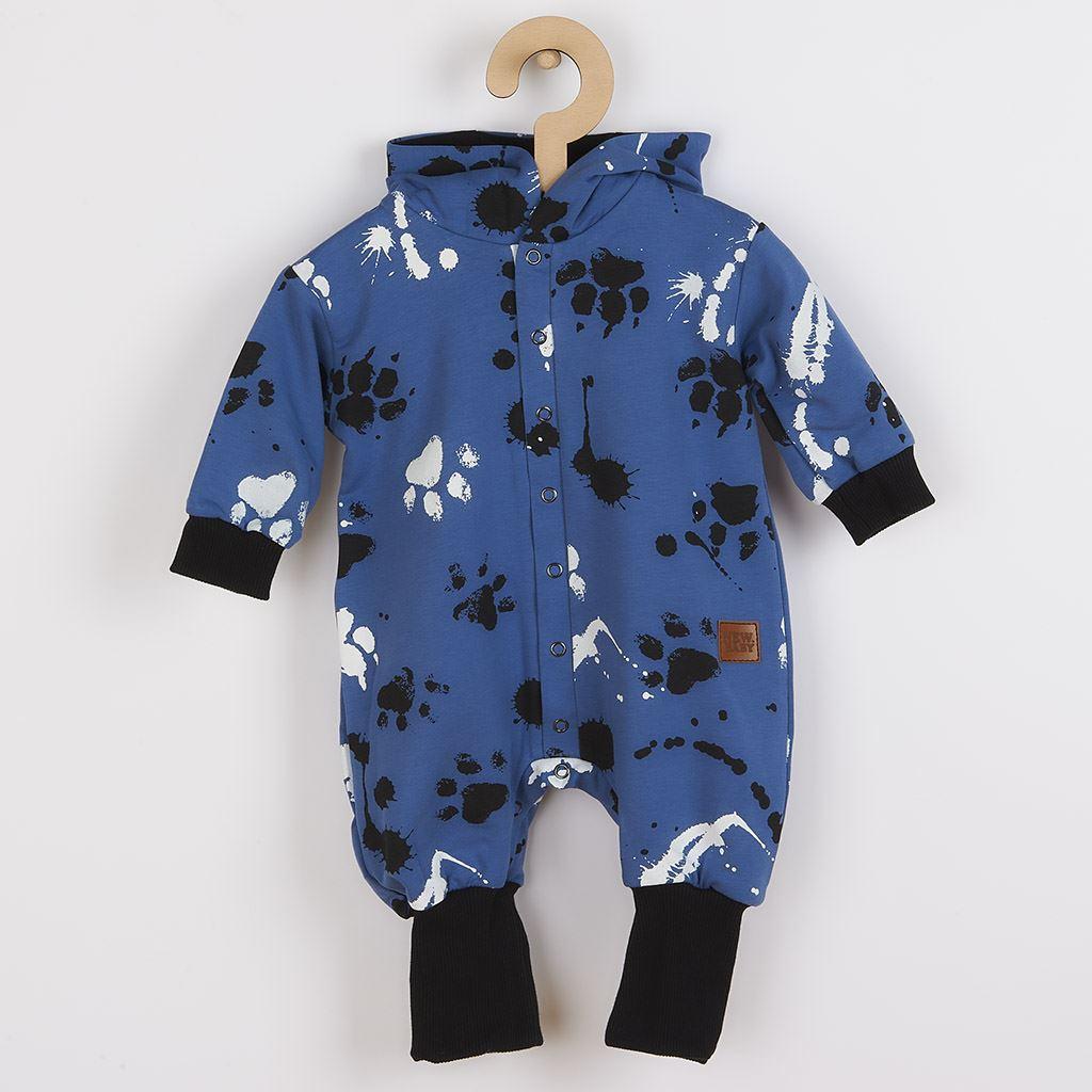Kojenecký bavlněný overal s kapucí a oušky New Baby Paw modrý vel. 80 (9-12m)