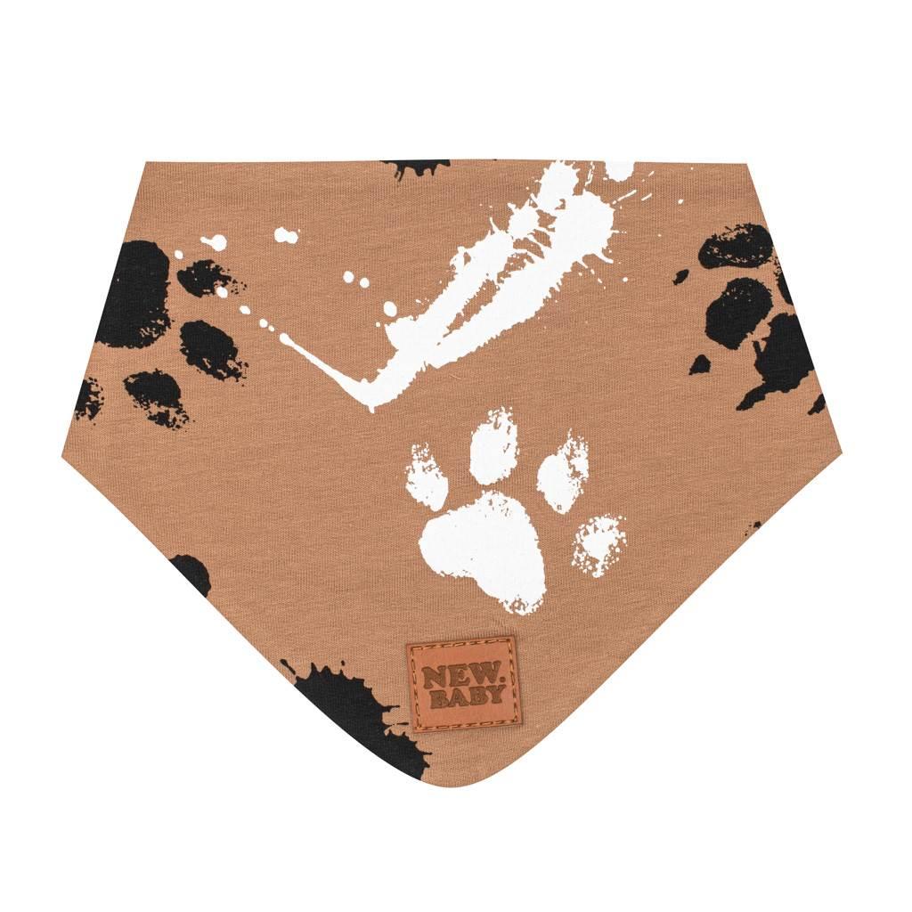 Kojenecký bavlněný šátek na krk New Baby Paw hořčicový S, Velikost: S