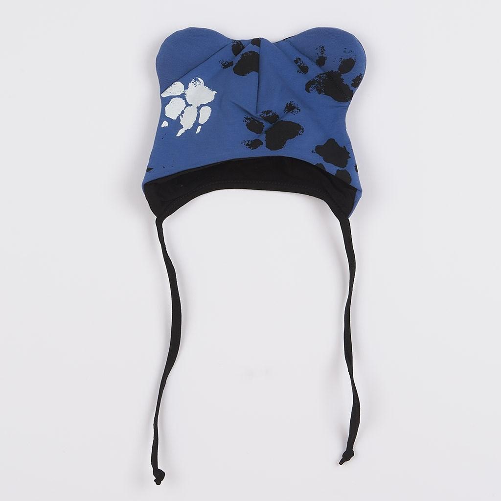 Kojenecká bavlněná čepička s oušky New Baby Paw modrá