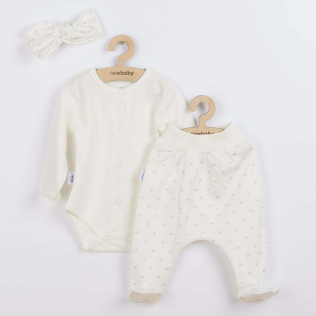 3-dílná bavlněná kojenecká souprava New Baby Kiddy smetanová vel. 56 (0-3m)