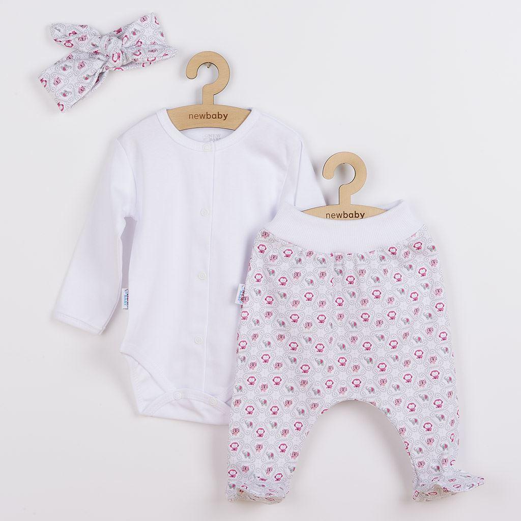3-dílná bavlněná kojenecká souprava New Baby Kiddy bílo-růžová vel. 56 (0-3m)