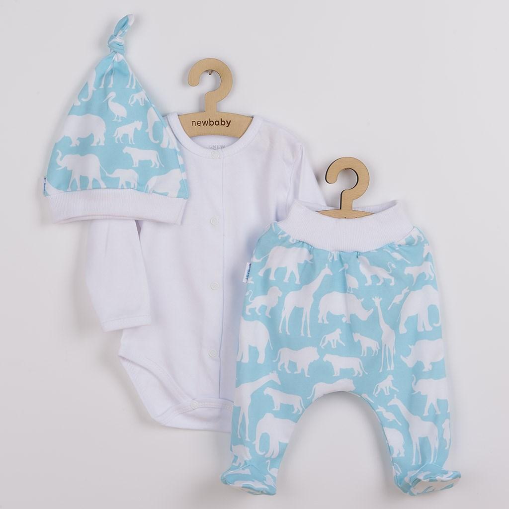 3-dílná bavlněná kojenecká souprava New Baby Kiddy bílo-tyrkysová vel. 56 (0-3m)