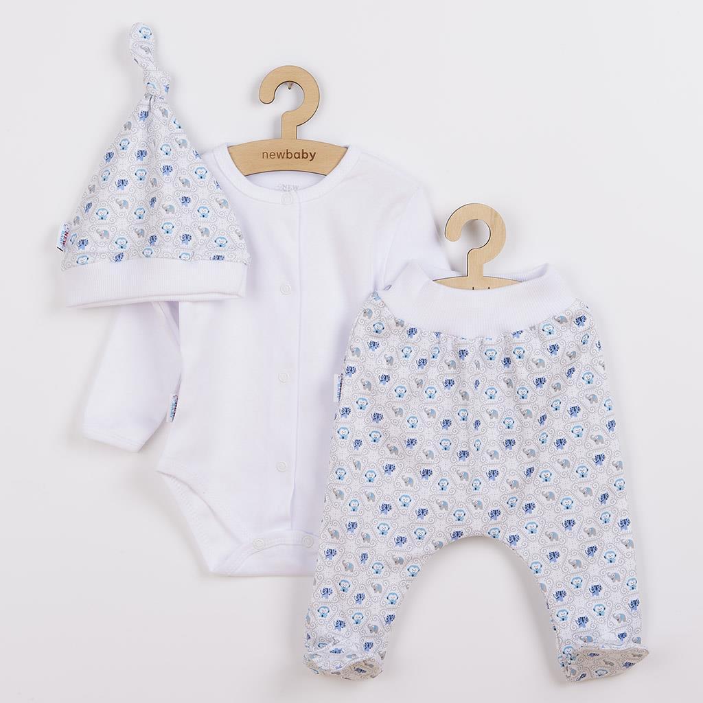 3-dílná bavlněná kojenecká souprava New Baby Kiddy bílo-modrá vel. 56 (0-3m)