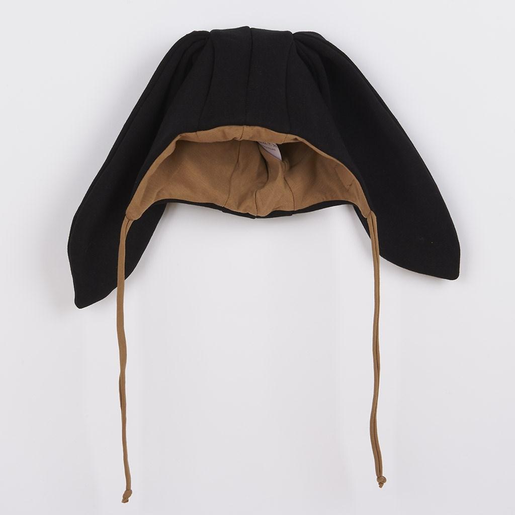 Kojenecká bavlněná čepička s oušky New Baby Favorite černá, Velikost: 80 (9-12m)