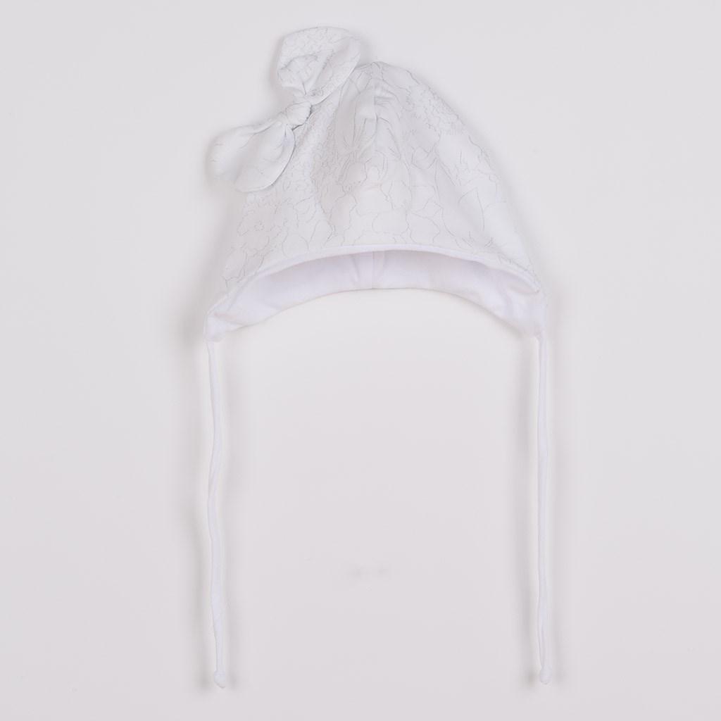 Kojenecká bavlněná čepička s mašličkou New Baby NUNU bílá, Velikost: 68 (4-6m)