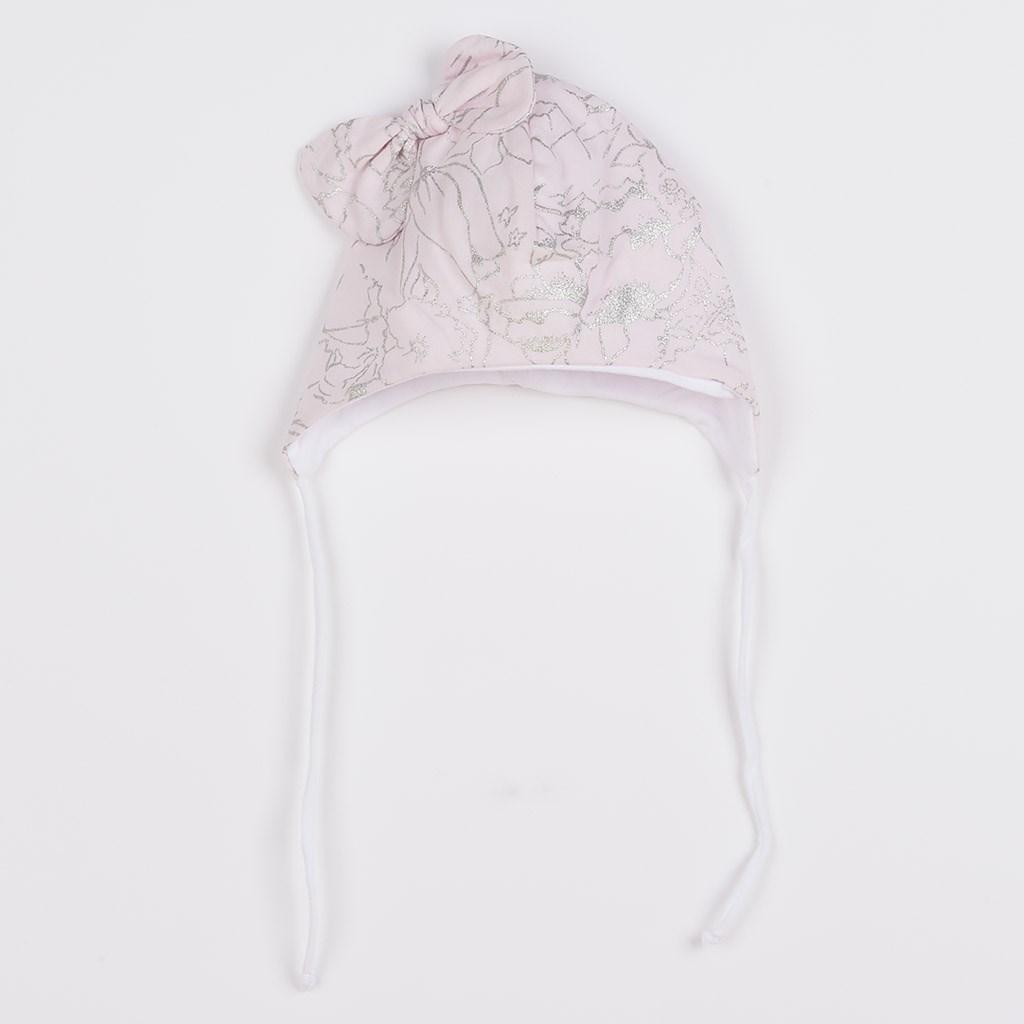 Kojenecká bavlněná čepička s mašličkou New Baby NUNU růžová, Velikost: 80 (9-12m)