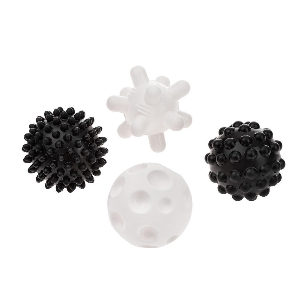 Sada senzorických hraček Akuku balónky 4ks 6 cm černobílé