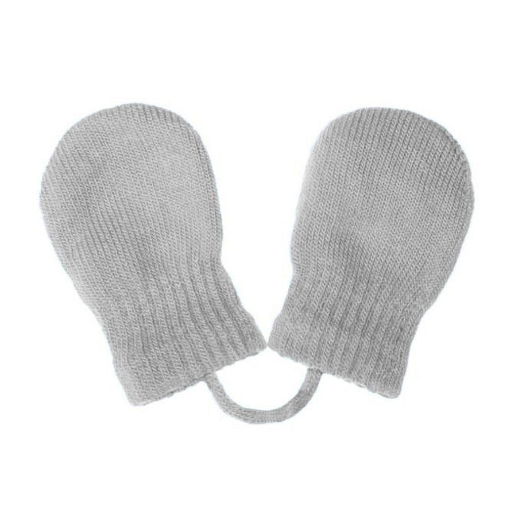 Dětské zimní rukavičky New Baby se šňůrkou světle šedé